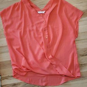 Lush nordstrom neon color surplice blouse criss
